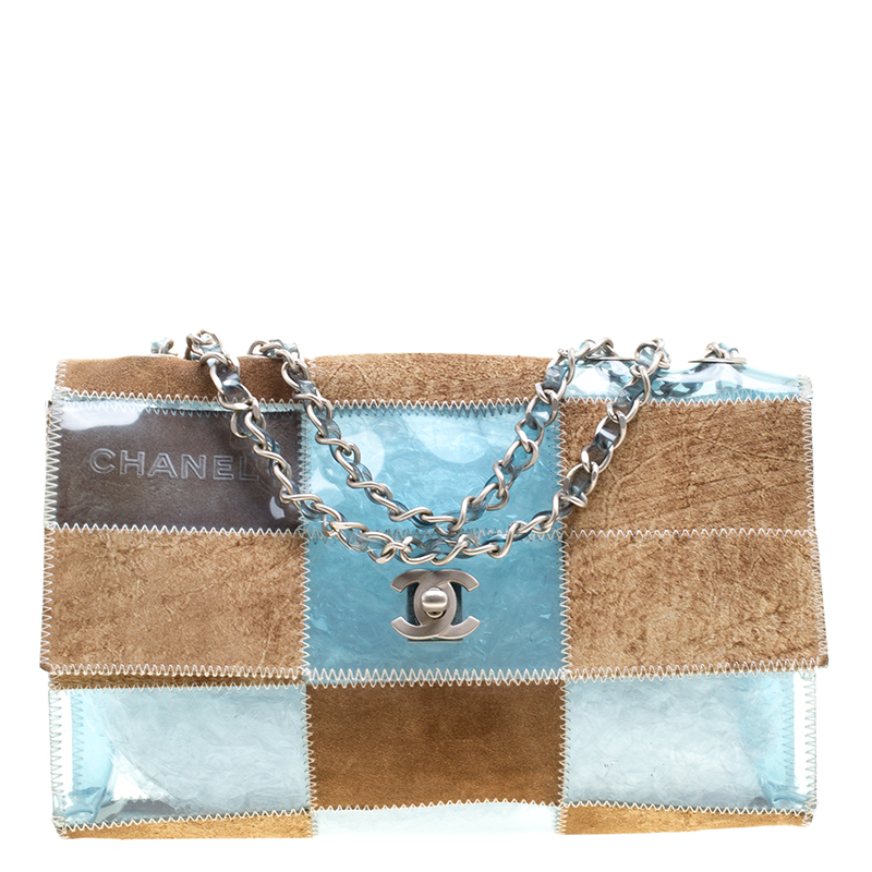 0214e01e9225 Buy Chanel Blue/Brown PVC and Leather Naked Patchwork Flap Bag ...
