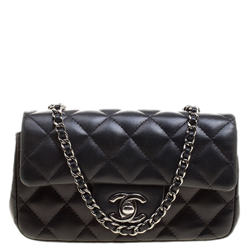 ef6e10dbd5361a ... Chanel Black Quilted Leather Extra Mini Classic Single Flap Bag.  nextprev. prevnext