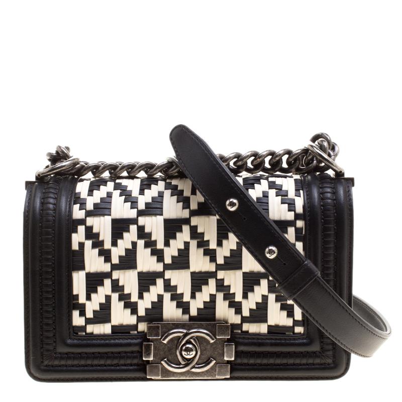 748e7f35f356 Buy Chanel Bi Color Woven Leather Small Bristol Limited Edition Boy ...