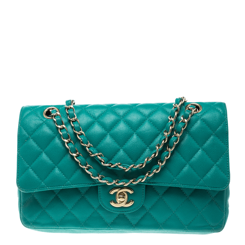 53a9c8bb7565d3 ... Chanel Green Quilted Caviar Leather Medium Classic Double Flap Bag.  nextprev. prevnext