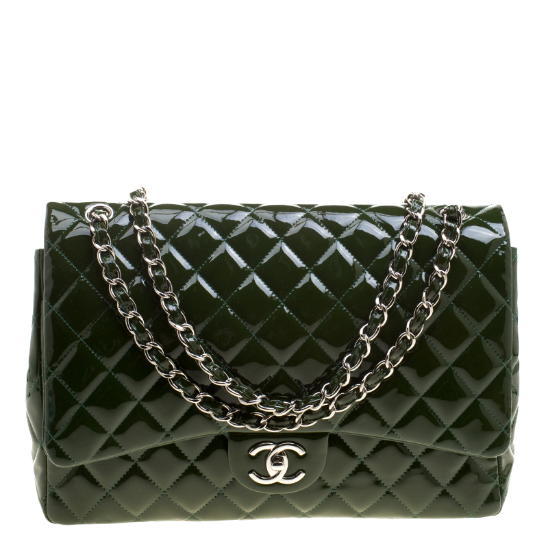 Buy Chanel Green Quilted Patent Leather Maxi Classic Double Flap Bag ... 021278aab0