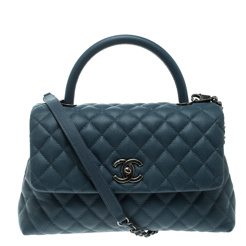 6e6ee3422 إشتري حقيبة شانيل كوكو جلد أزرق كافيار مبطن صغيرة بيد علوية 129440 ...