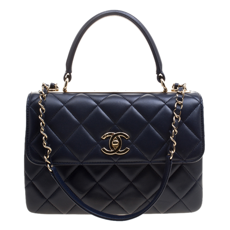 18627a6174dfe8 Buy Chanel Navy Blue Quilted Leather Small Trendy CC Flap Shoulder ...