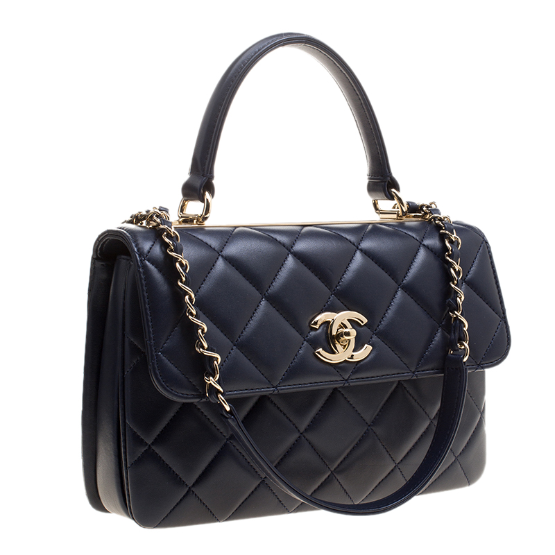 Chanel Navy Blue Quilted Leather Small Trendy Cc Flap Shoulder Bag