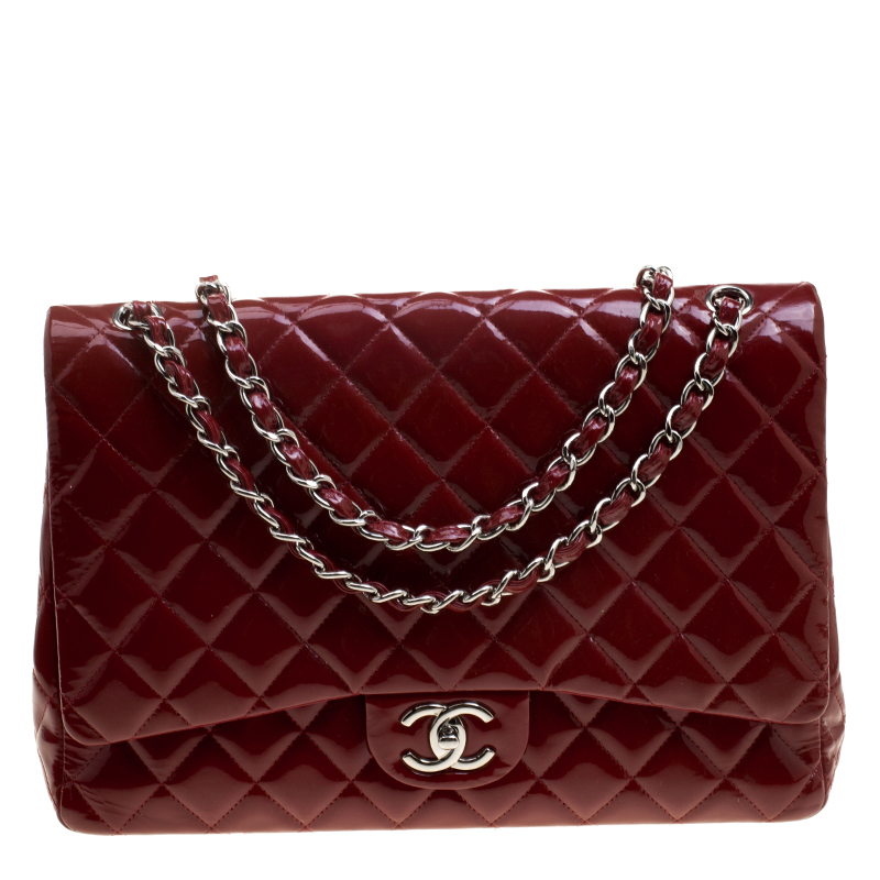 bfba861b1 Buy Chanel Red Quilted Patent Leather Maxi Classic Double Flap Bag ...