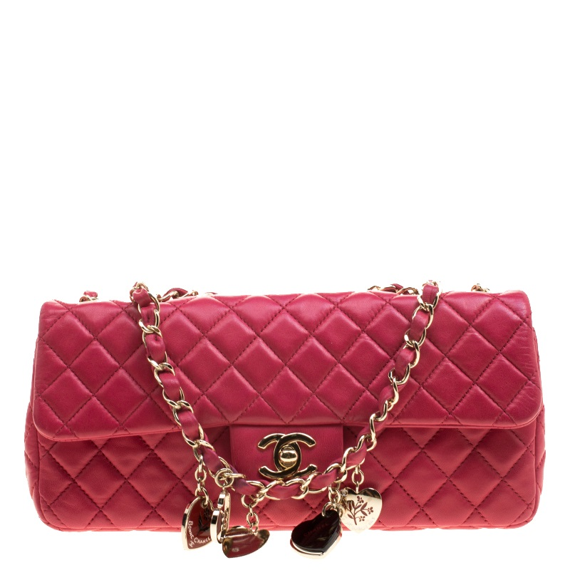 208ac2a3a2def Chanel Pink Quilted Leather East West Valentine Flap Bag 132321