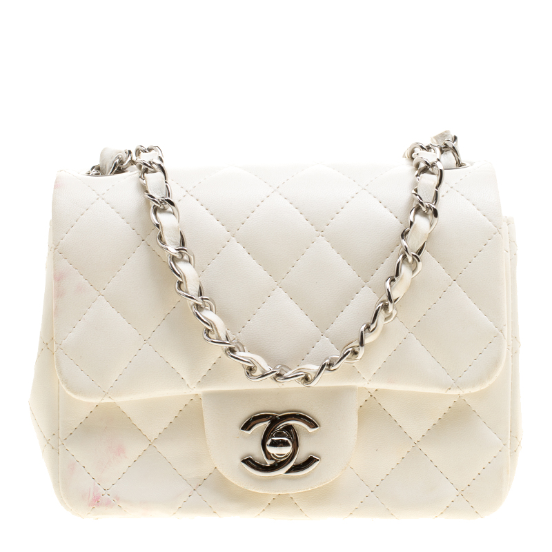 Chanel White Quilted Leather Mini Classic Single Flap Bag