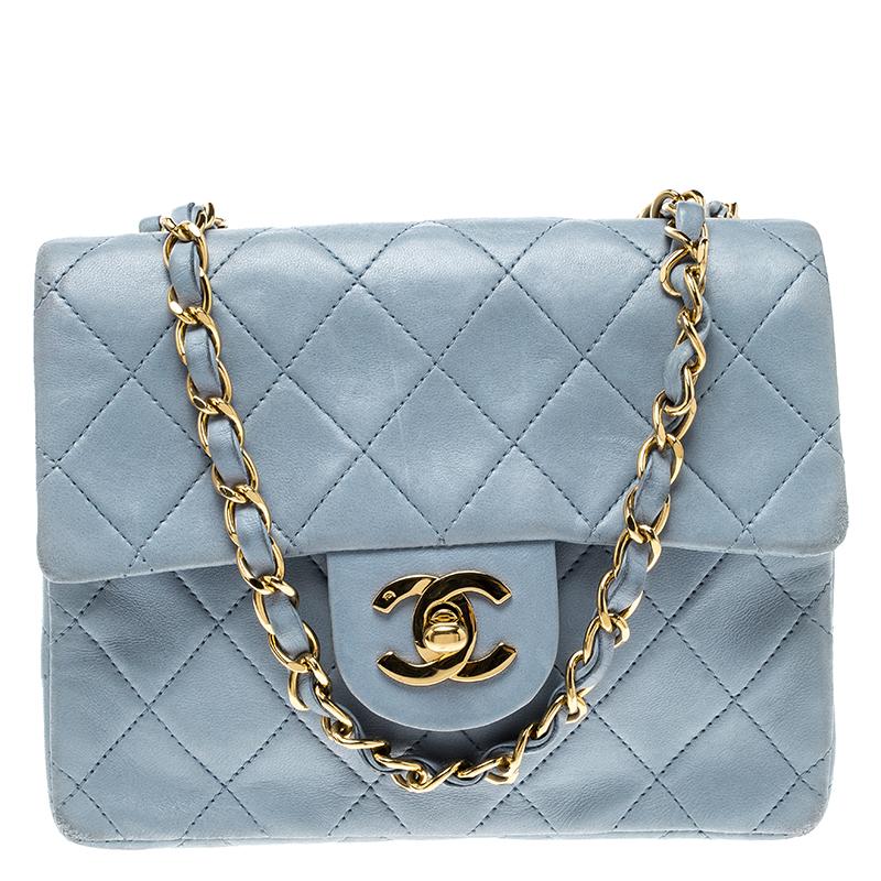 41c7313ed35c Buy Chanel Sky Blue Mini Square Flap Bag 133325 at best price