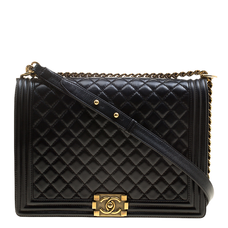 7ce03f4a40ebd3 ... Chanel Black Quilted Glazed Leather Large Boy Flap Bag. nextprev.  prevnext