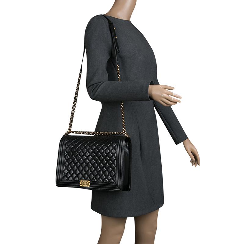 Leather Large Boy Flap Bag Chanel