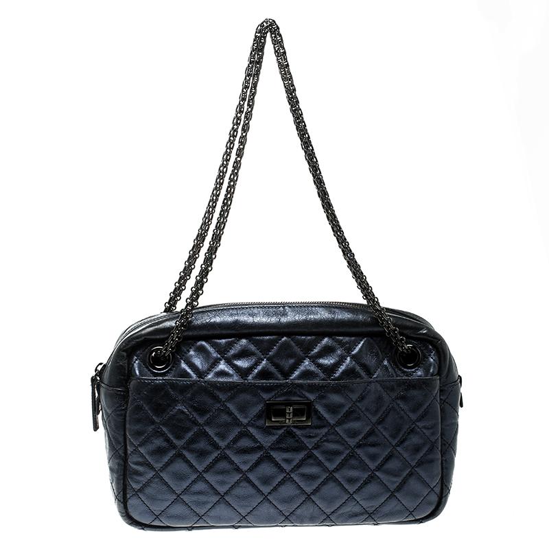 3085a54beadf ... Chanel Metallic Blue Quilted Leather Medium Reissue Camera Bag.  nextprev. prevnext