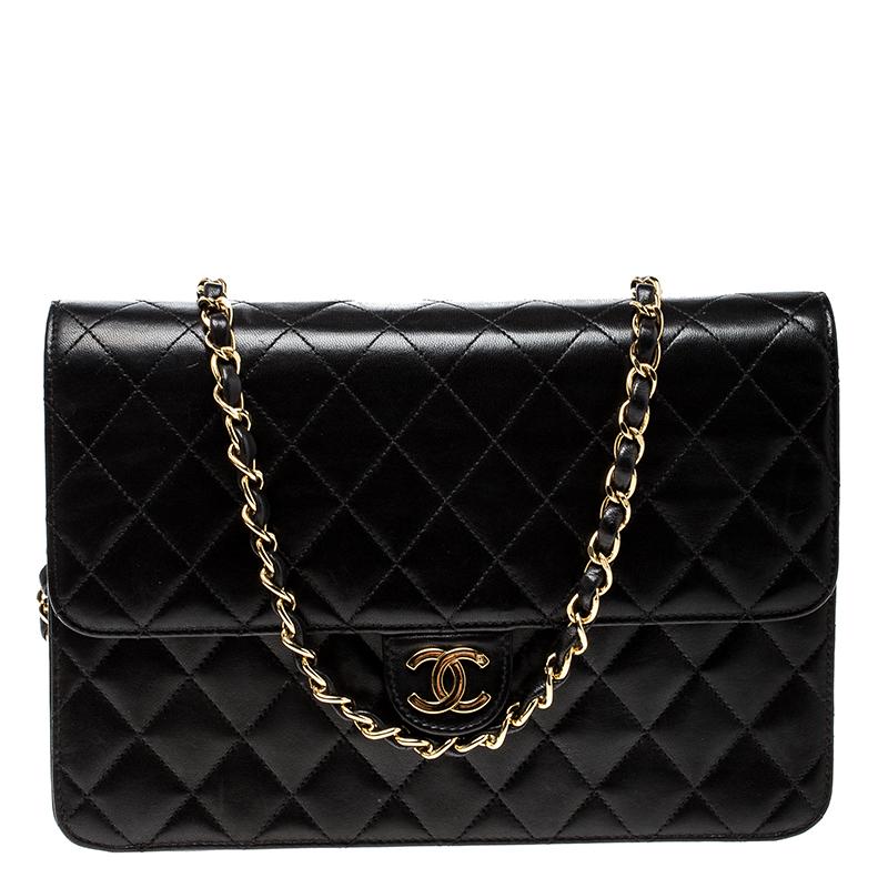 955d541d388e ... Chanel Black Quilted Leather Medium Vintage Classic Single Flap Bag.  nextprev. prevnext