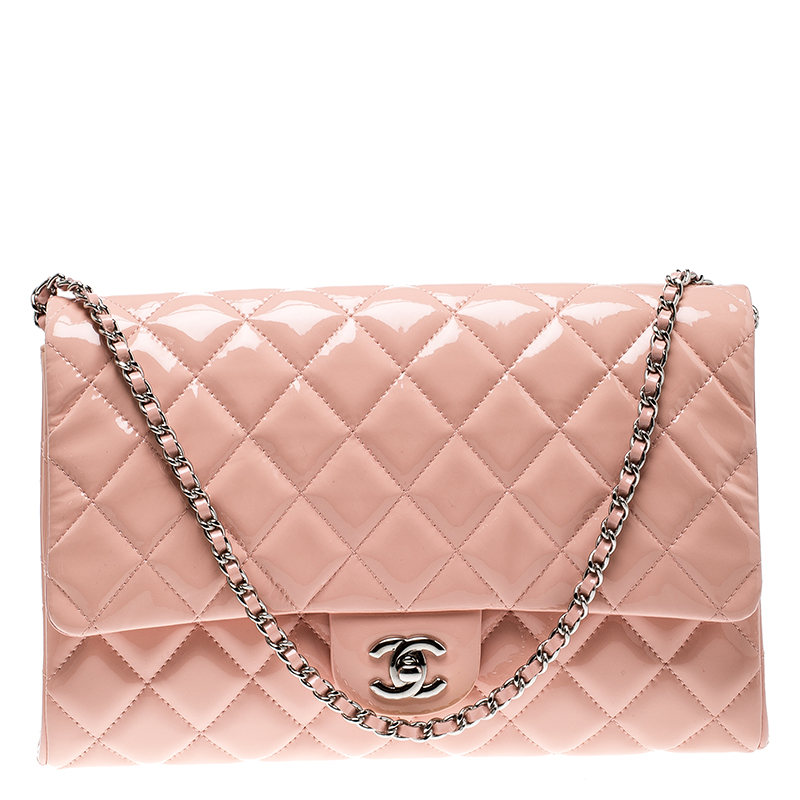 965e8027926234 Buy Chanel Blush Pink Patent Leather Chain Clutch 135636 at best ...
