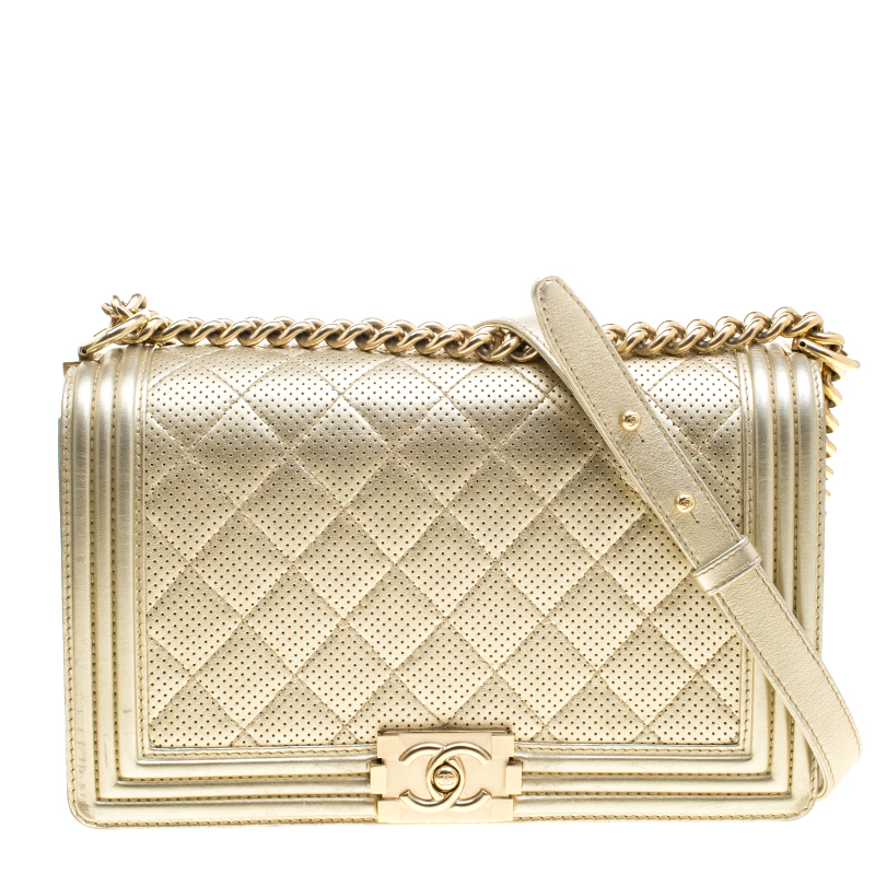 d7a07d95f819 ... Chanel Light Gold Perforated Leather New Medium Boy Bag. nextprev.  prevnext