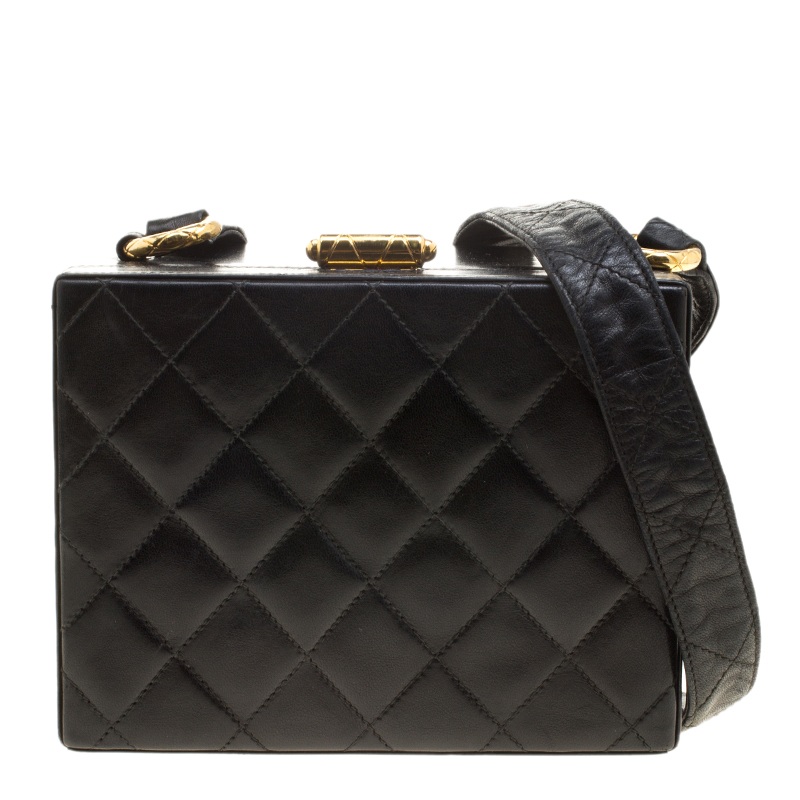 ab74efb6a4ce16 ... Chanel Black Quilted Leather Vintage Box Bag. nextprev. prevnext