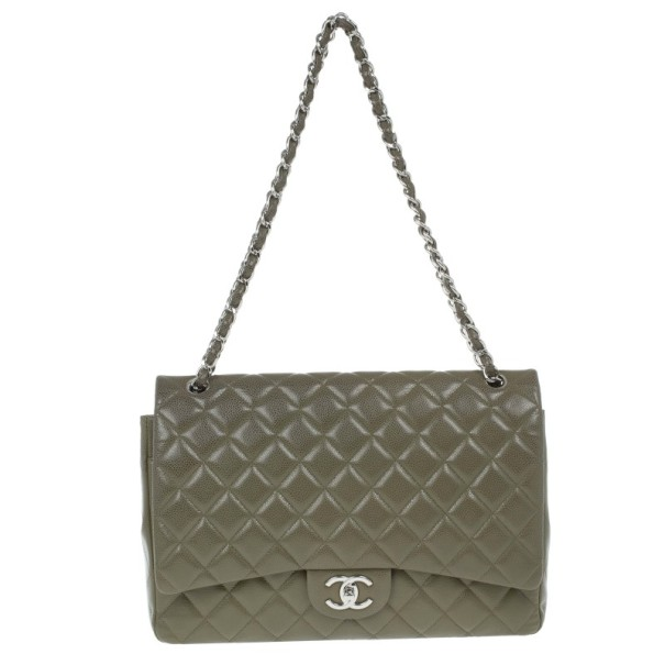 fd507c22917b Buy Chanel Olive Green Caviar Maxi Flap Bag 13663 at best price