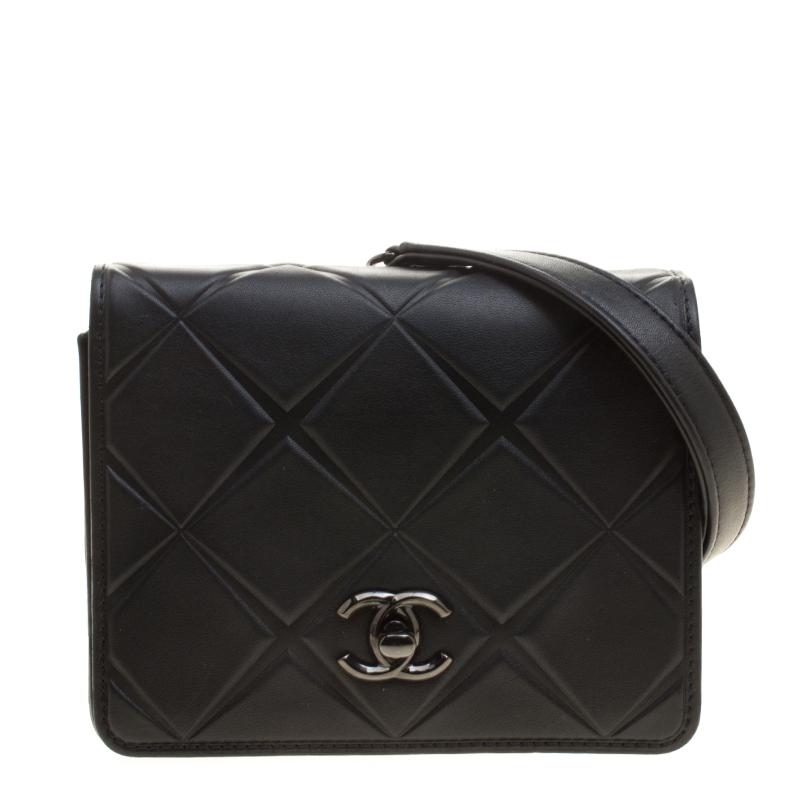 fc1c9107bb96 Chanel Black Leather Mini Propeller Flap Bag 136721 At Best