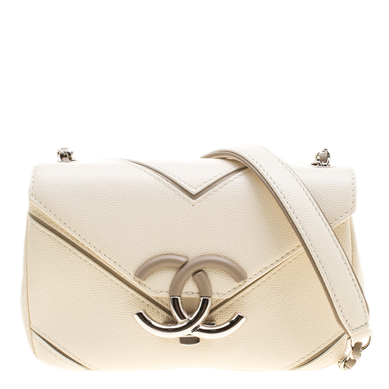 f2f08cecf672 ... Chanel Cream Chevron Caviar Leather Small CC Flap Bag. nextprev.  prevnext