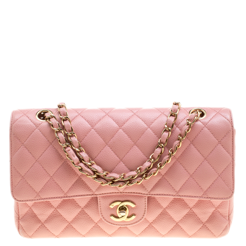 Chanel Pink Quilted Leather Medium Classic Double Flap Bag