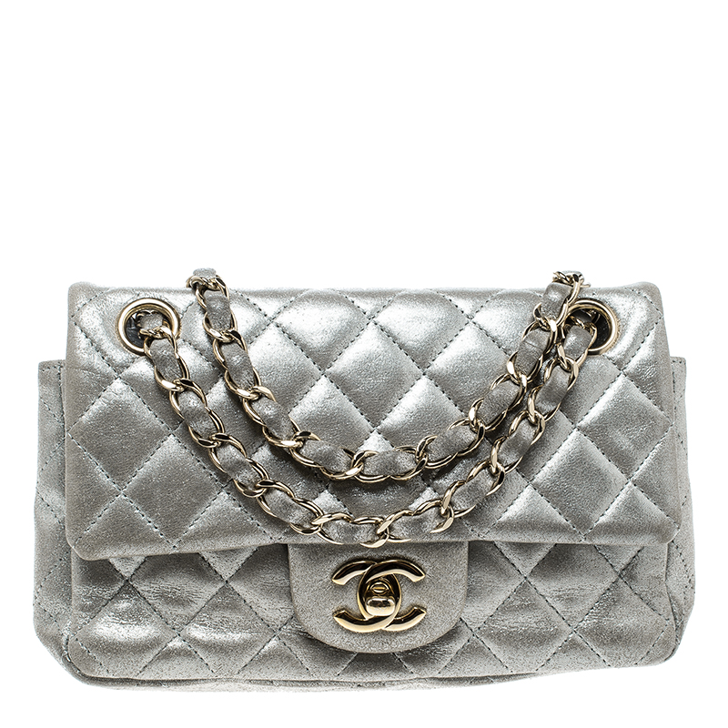 1b0db77dad8ef6 ... Chanel Silver Quilted Leather New Mini Classic Single Flap Bag.  nextprev. prevnext