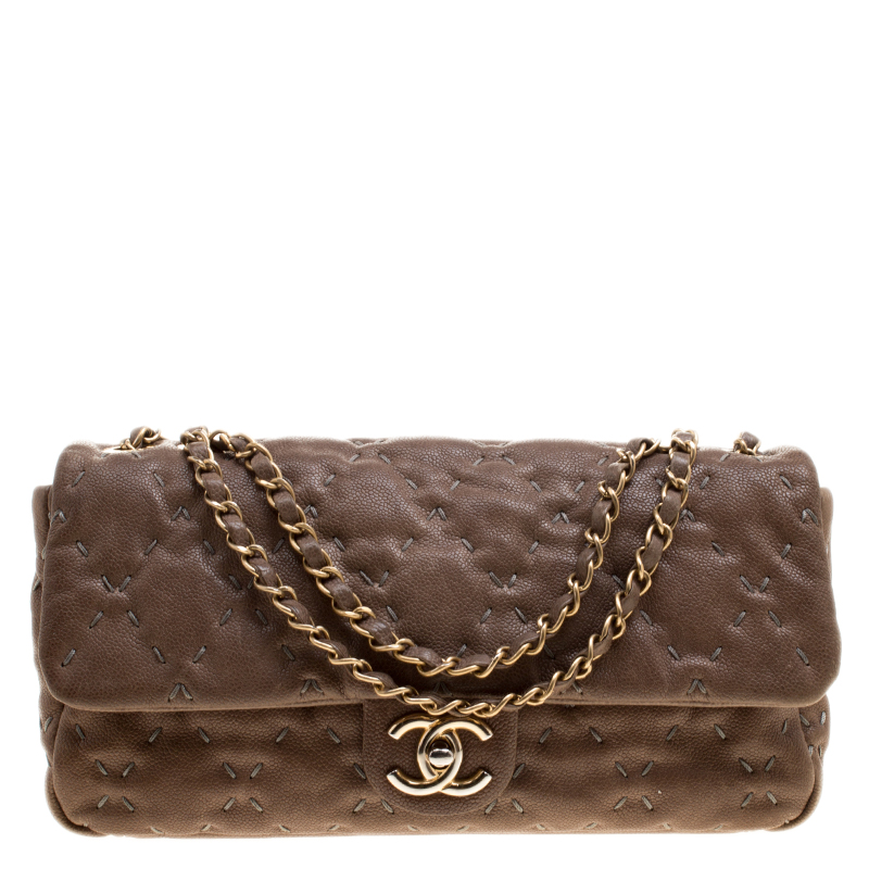 e0e73ce96d38 Buy Chanel Taupe Quilted Wild Stitch Caviar Leather Classic Flap ...