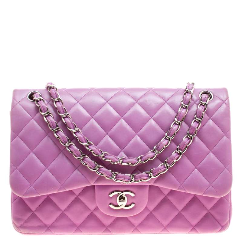 b933805614ed Buy Chanel Lilac Quilted Leather Jumbo Classic Double Flap Bag 138702 at  best price