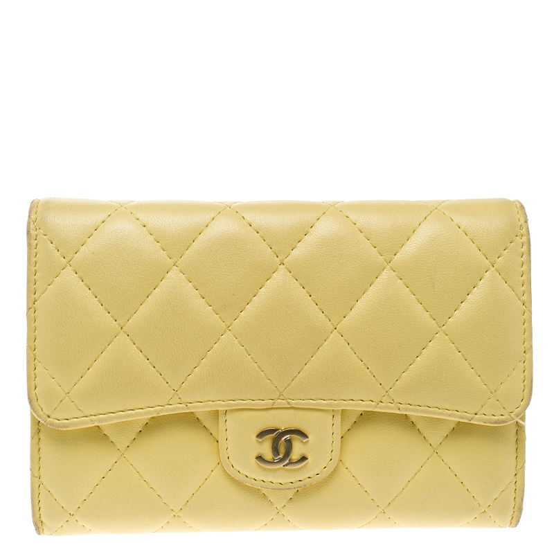98fadaac3d89 Buy Chanel Yellow Quilted Leather Flap Wallet 139817 at best price | TLC