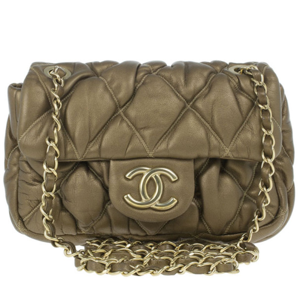 675a3e8b398b Buy Chanel Gold Leather Bubble Quilt Flap Bag 13999 at best price | TLC