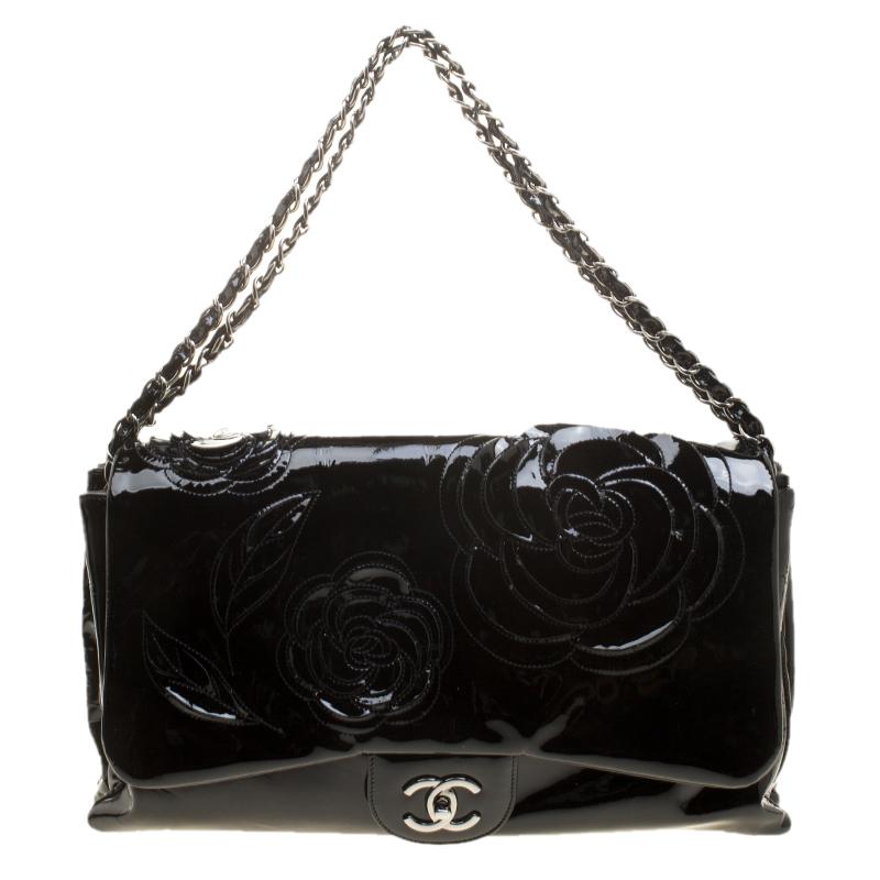 9b7436cc7225 ... Chanel Black Patent Leather Camellia Accordion 3 Classic Flap Bag.  nextprev. prevnext