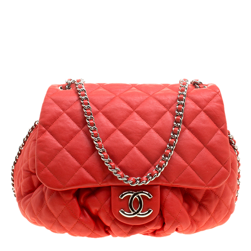 032d769daf5c Chanel Red Quilted Leather Chain Around Shoulder Bag 140413 At