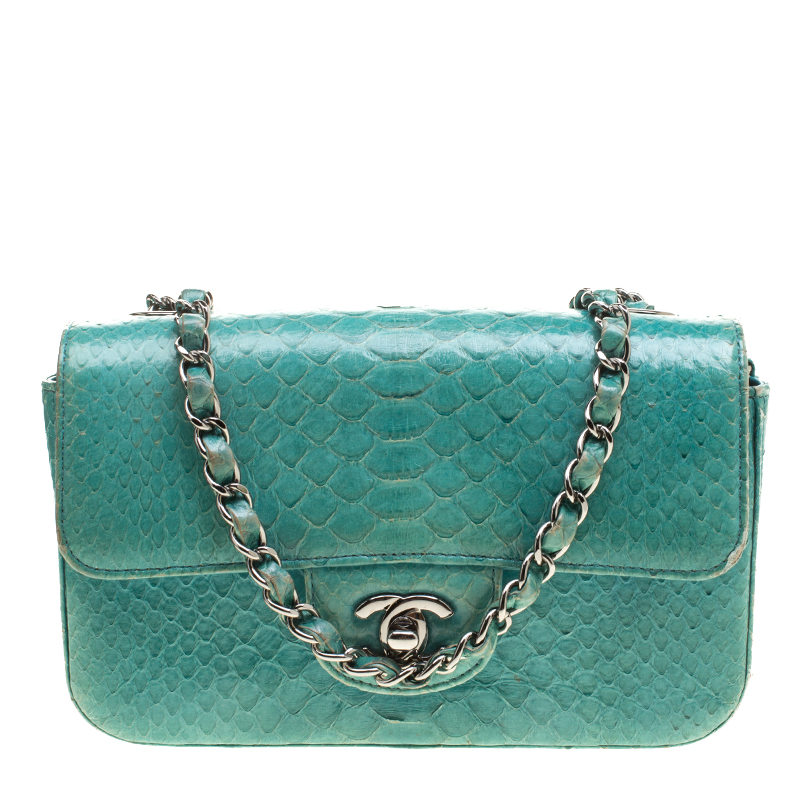 e6afe6f7b0d6 ... Chanel Turquoise Python New Mini Classic Single Flap Bag. nextprev.  prevnext