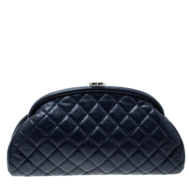 40d44f6317f5 Buy Chanel Navy Blue Quilted Caviar Leather Timeless Clutch 140957 ...