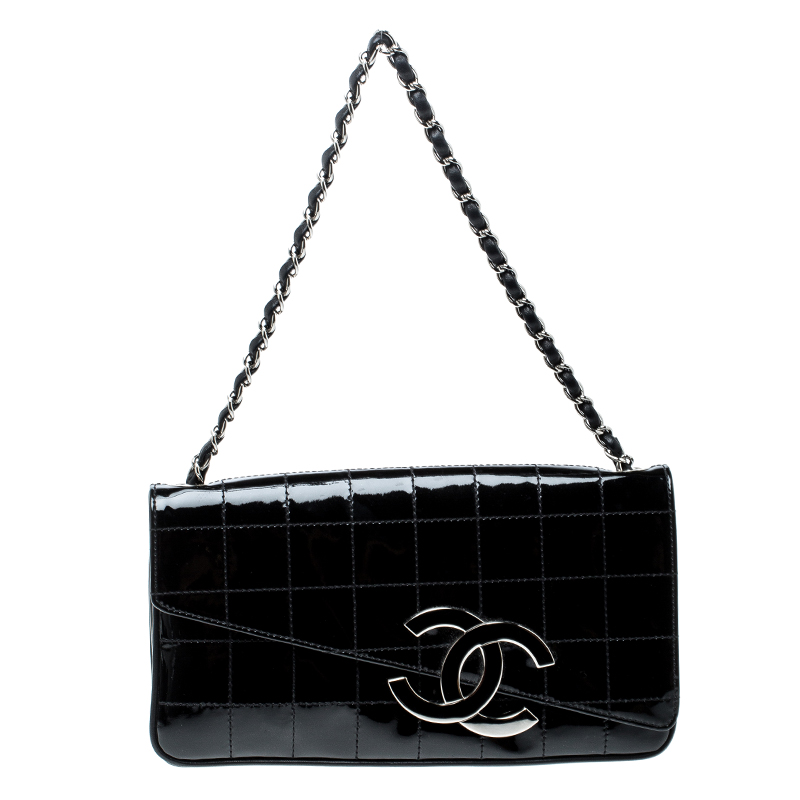 584dd73957e5 ... Chanel Black Chocolate Bar Patent Leather CC Logo Chain Clutch.  nextprev. prevnext
