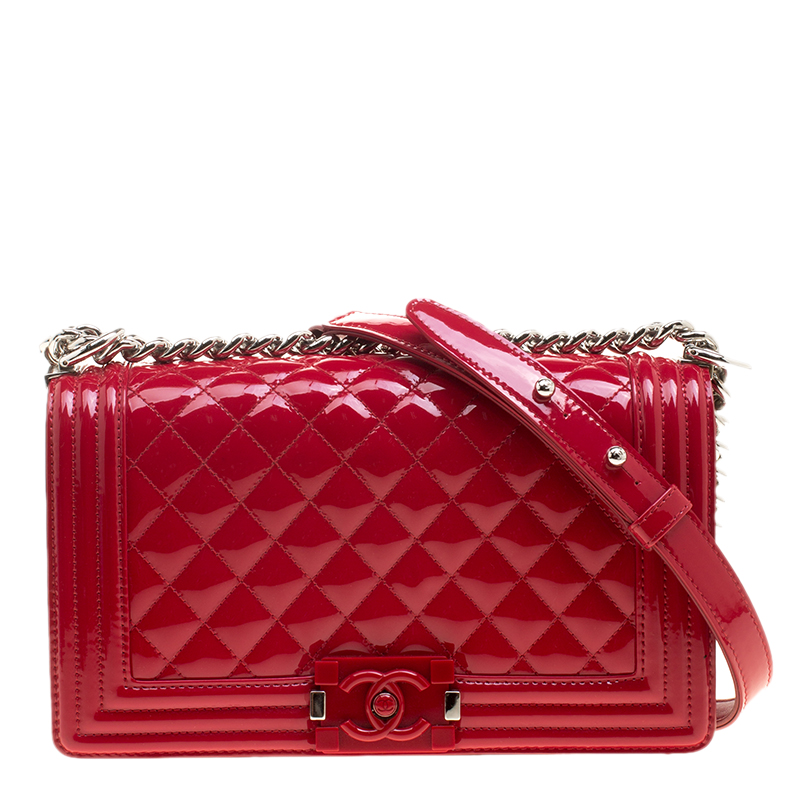a64fab2aa29764 Chanel Red Quilted Patent Leather Medium Boy Flap Bag 141455 At