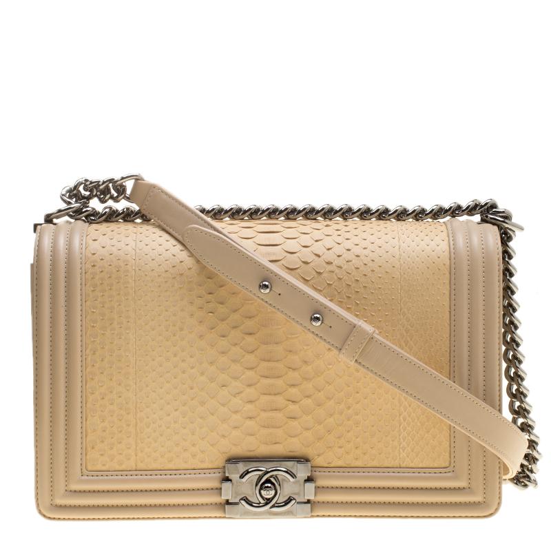 edb2e1378f3 Buy Chanel Beige Python Large Boy Bag 141783 at best price   TLC