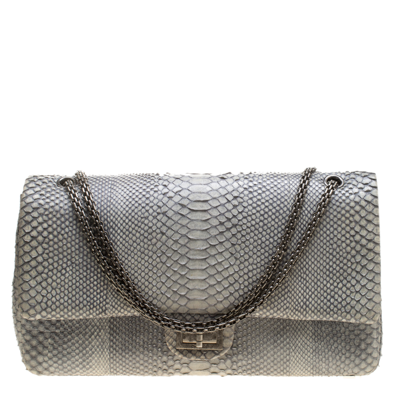 Buy Chanel Grey Python 2.55 Reissue Double Flap Shoulder Bag 141823 ... 90cfe489bc