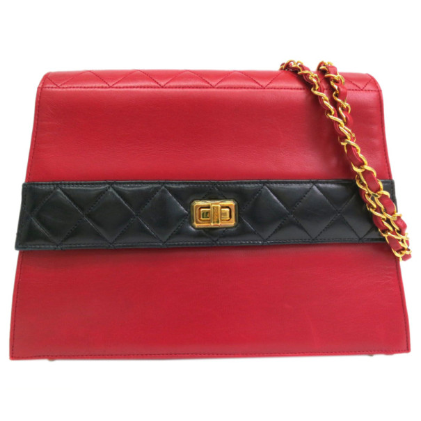 e6afb9970b1c Buy Chanel Red and Black Lambskin Shoulder Bag 14363 at best price | TLC