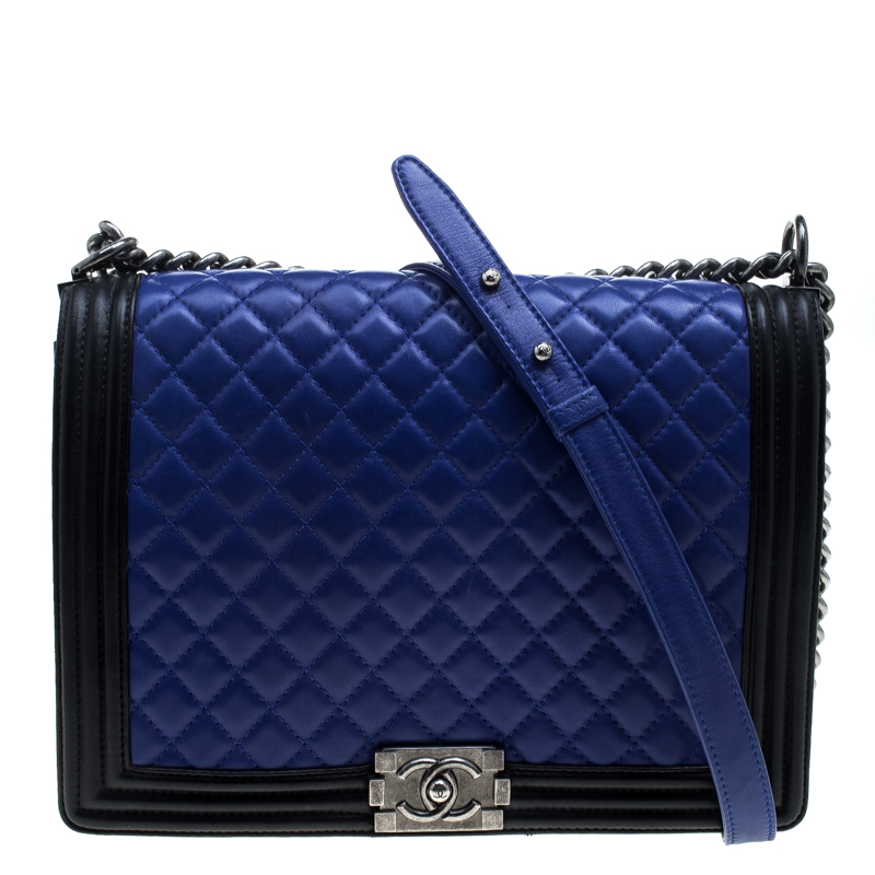 3f67e4fc9362 Prevnext. Chanel Blue Black Quilted Leather Large Boy Flap Bag 143786 At