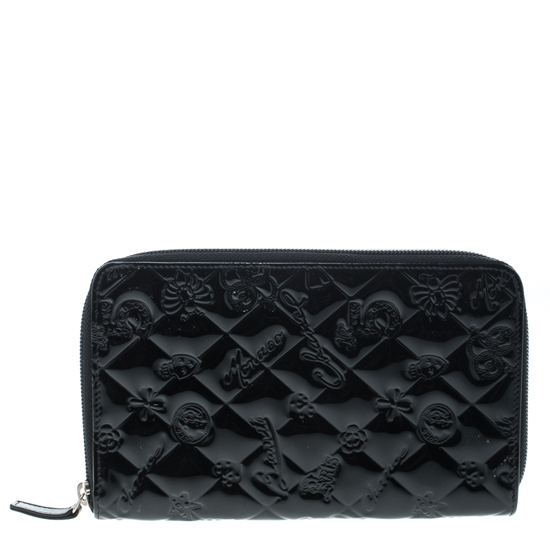 b1755ce740a01c ... Around Wallet Nextprev Prevnext. Chanel Black Quilted Patent Leather  Embossed Lucky Symbols Zip