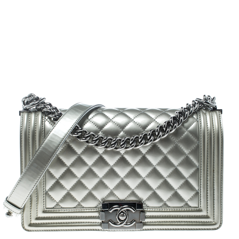 Chanel Silver Quilted Patent Leather Medium Boy Flap Bag