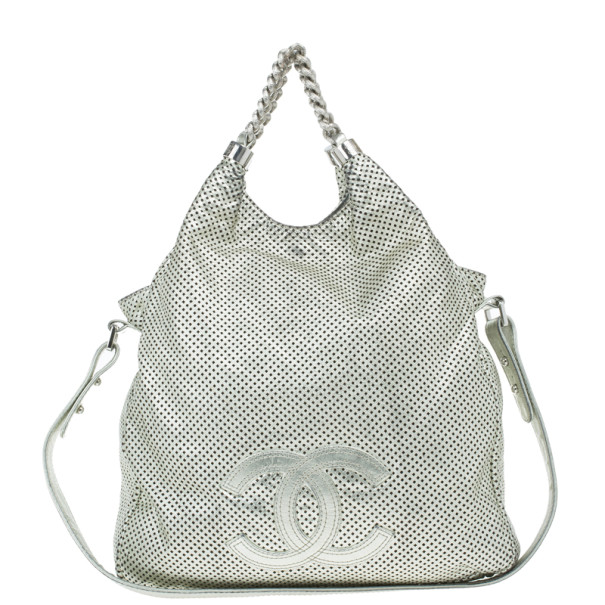 ... Chanel Silver Metallic Leather Perforated Rodeo Drive Grand Shopping  Hobo. nextprev. prevnext 76777641fcd61