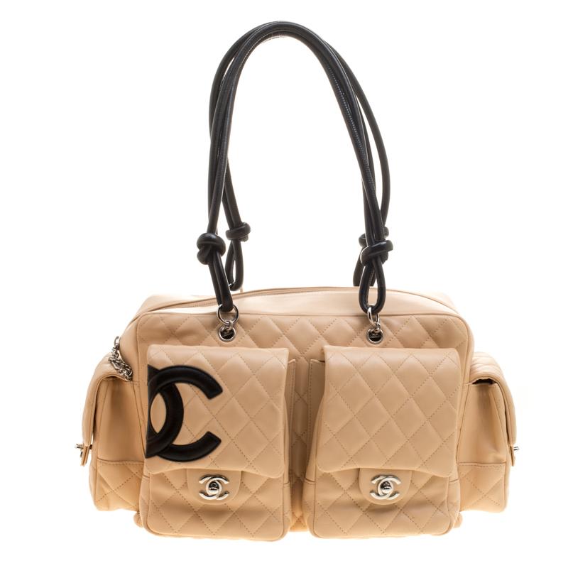 efd8e72eb642f9 ... Chanel Beige/Black Quilted Leather Ligne Cambon Reporter Bag. nextprev.  prevnext