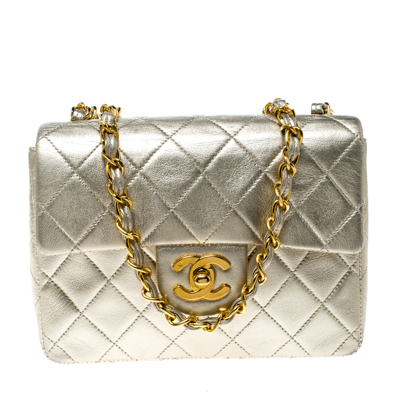 103e21225fda07 ... Chanel Light Gold Quilted Leather Mini Vintage Classic Single Flap Bag.  nextprev. prevnext