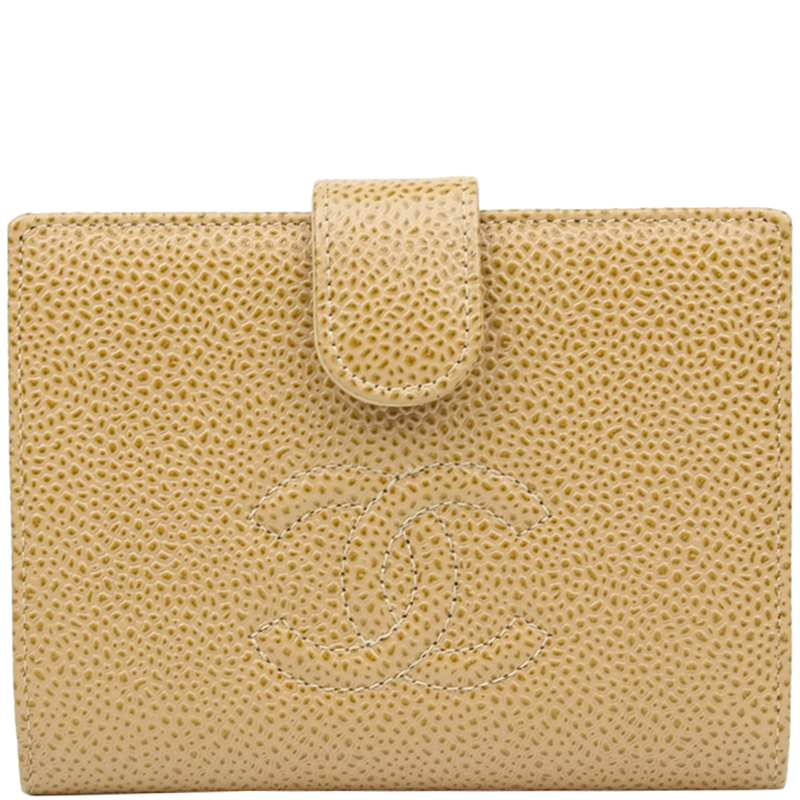 52f9a4ed4f5b Buy Chanel Beige Caviar CC Compact Wallet 147571 at best price | TLC