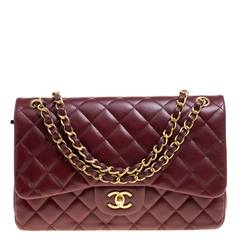 2dee0794d6f7 ... Chanel Burgundy Quilted Caviar Leather Jumbo Classic Double Flap Bag.  nextprev. prevnext