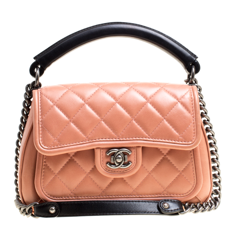 Buy Chanel Peach Pink Black Quilted Leather Top Handle