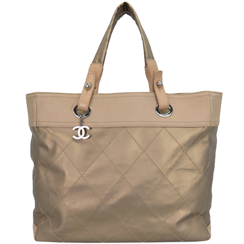 9a06c5682806 Buy Chanel Beige Quilted Coated Canvas Paris Biarritz Tote 150262 at ...
