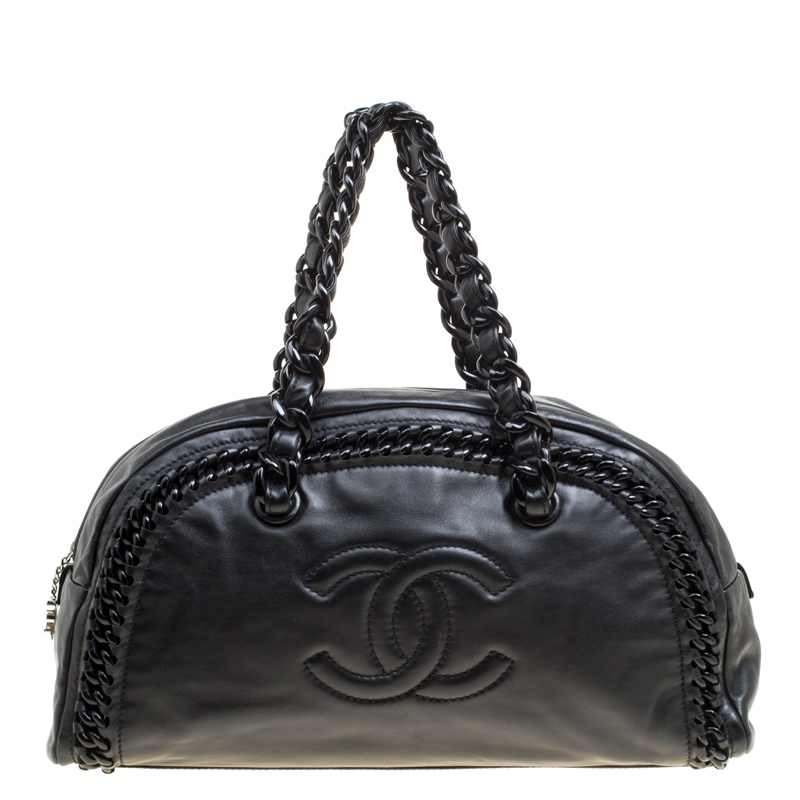Chanel Black Leather CC Chain Around Bowling Bag