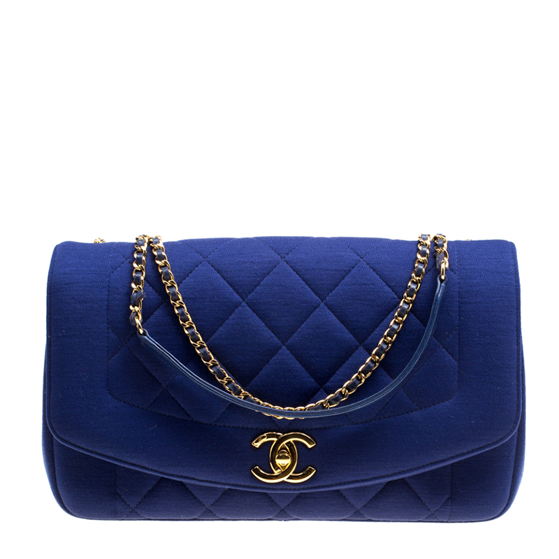 ca69d454d9cd Buy Chanel Blue Quilted Jersey Diana Flap Bag 151806 at best price | TLC
