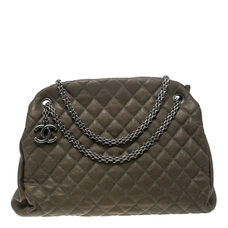 9118740d0399 Buy Chanel Khaki Quilted Leather Large Just Mademoiselle Bowling Bag ...